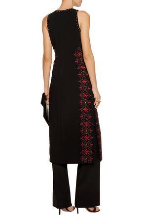 CINQ À SEPT Faye embroidered crepe midi dress