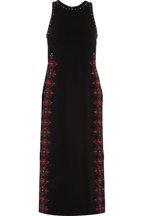 CINQ À SEPT Faye embroidered crepe midi dress