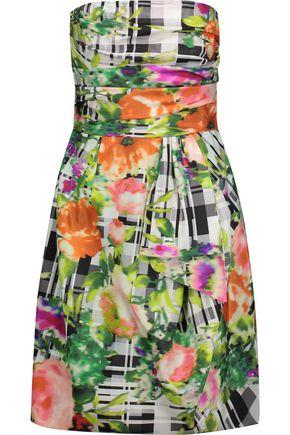 OSCAR DE LA RENTA Ruched printed cotton mini dress