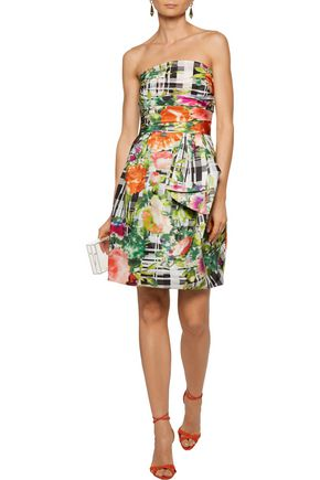 OSCAR DE LA RENTA Ruched printed cotton mini dress