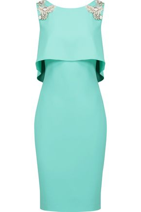 BADGLEY MISCHKA Day layered embellished crepe dress
