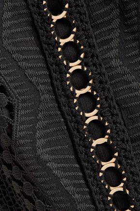 BADGLEY MISCHKA Eyelet-embellished crochet knit-paneled embroidered georgette mini dress