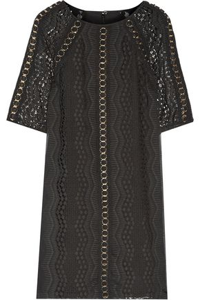 BADGLEY MISCHKA Eyelet-embellished crochet knit-paneled embroidered georgette mini dress