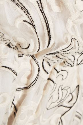 ALICE + OLIVIA Janell off-the-shoulder embroidered silk-georgette mini dress