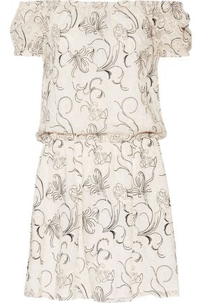 ALICE + OLIVIA Janell off-the-shoulder embroidered silk-georgette mini dress