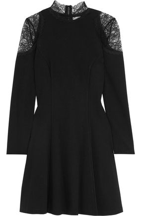 ALICE + OLIVIA Candice lace-paneled stretch-jersey mini dress