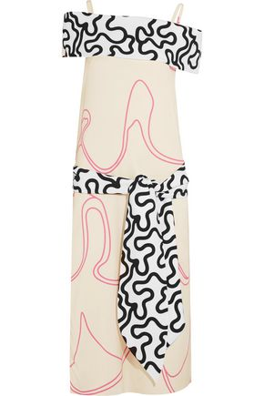 J.W.ANDERSON Off-the-shoulder printed crepe-paneled twill dress