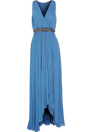BADGLEY MISCHKA Draped wrap-effect embellished pleated georgette gown