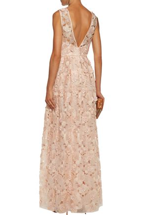 BADGLEY MISCHKA Ruffled appliquéd embroidered organza gown