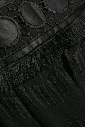 BADGLEY MISCHKA Crochet knit-paneled embroidered chiffon gown