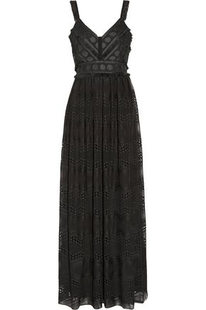 BADGLEY MISCHKA Crochet knit-paneled embroidered chiffon gown