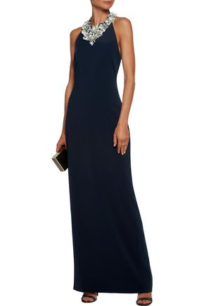 BADGLEY MISCHKA Metallic embellished embroidered cady halterneck gown