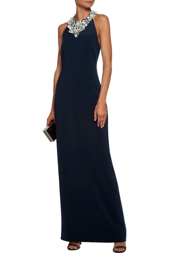 Metallic embellished embroidered cady halterneck gown   BADGLEY MISCHKA   Sale  up to 70% off   THE OUTNET