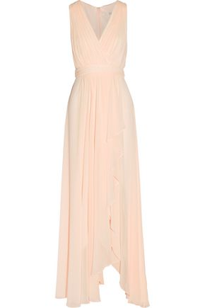 BADGLEY MISCHKA Draped wrap-effect pleated cotton-blend georgette gown