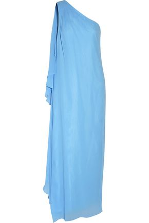 BADGLEY MISCHKA One-shoulder draped chiffon gown
