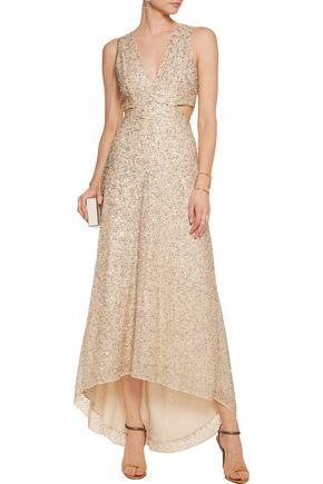 ALICE + OLIVIA Juelia cutout embellished metallic mesh gown