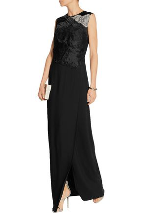 3.1 PHILLIP LIM Lace-trimmed organza and silk-crepe gown