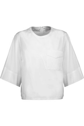 3.1 PHILLIP LIM Crochet knit-paneled cotton-poplin top