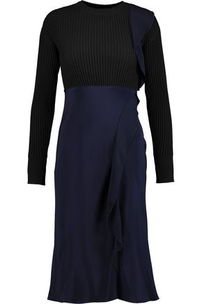 3.1 PHILLIP LIM Asymmetric paneled stretch-wool and silk crepe de chine midi dress