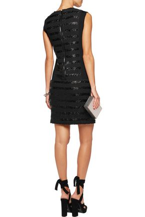 SONIA RYKIEL Raffia-trimmed cotton-blend bouclé mini dress