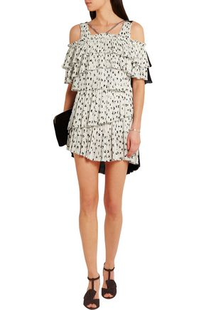 SONIA RYKIEL Pleated printed crepe mini dress