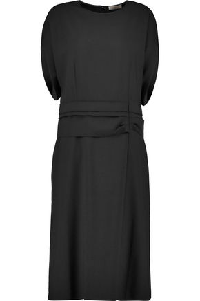 NINA RICCI Silk crepe-trimmed stretch-wool twill dress