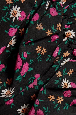 NINA RICCI Ruched floral-print silk and silk-chiffon dress
