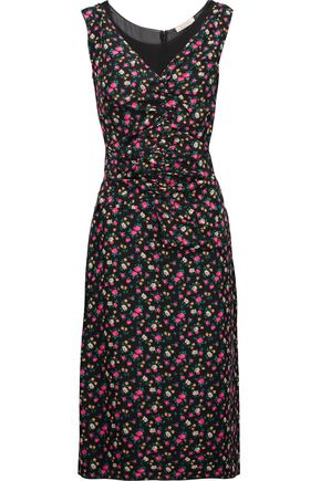 NINA RICCI Ruched floral-print silk and silk-chiffon dress