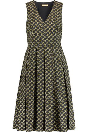 MICHAEL KORS COLLECTION Pleated printed cotton midi dress