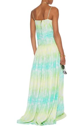MATTHEW WILLIAMSON Gathered printed silk-crepe maxi dress