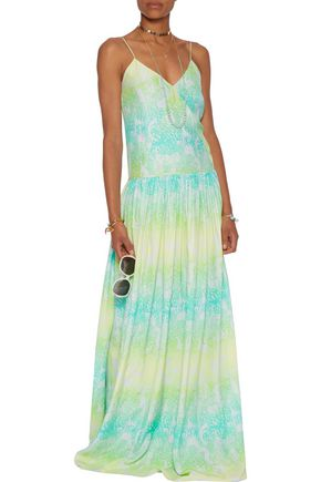 MATTHEW WILLIAMSON Gathered printed silk crepe de chine maxi dress