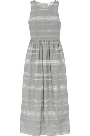 IRIS & INK Striped dévoré-chambray maxi dress
