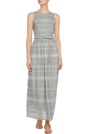 IRIS AND INK Striped dévoré-chambray maxi dress