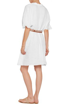 IRIS & INK Belted embroidered linen mini dress