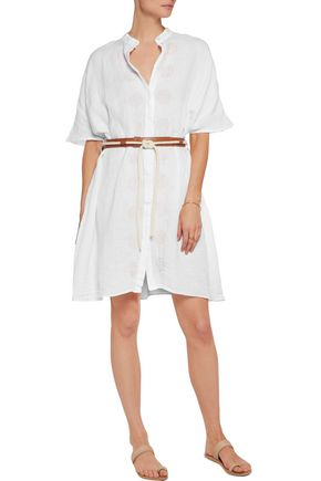 IRIS AND INK Belted embroidered linen mini dress