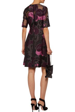LELA ROSE Holly metallic embroidered organza dress