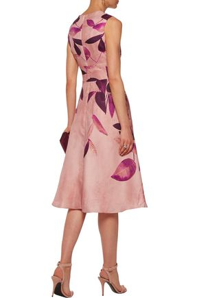 LELA ROSE Printed silk-crepe midi dress