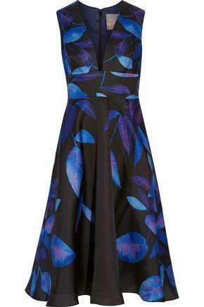 LELA ROSE Printed silk midi dress