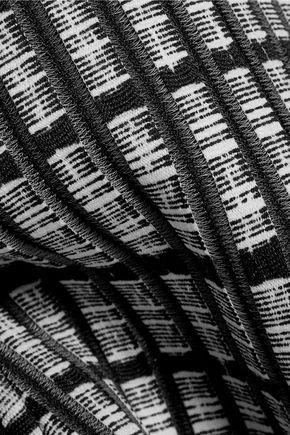 LELA ROSE Printed wool blend-paneled crepe dress
