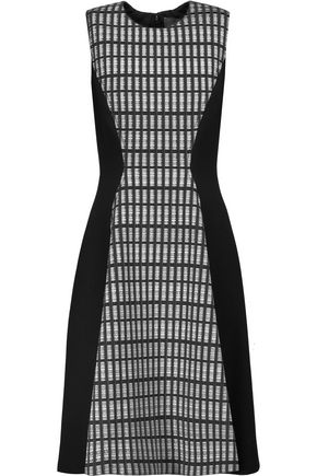 LELA ROSE Printed wool blend-paneled crepe dress