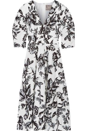 LELA ROSE Floral-print cotton dress