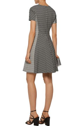 LELA ROSE Paneled printed stretch cotton-blend twill dress
