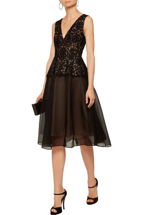 LELA ROSE Guipure lace-paneled and silk-blend cloqué midi dress