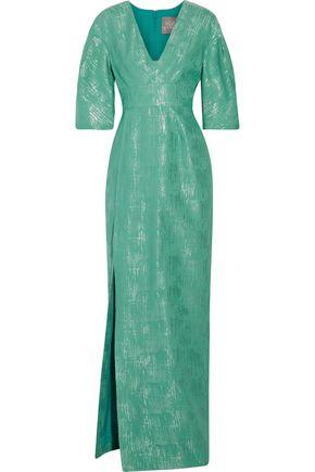 LELA ROSE Metallic cotton and silk-blend gown