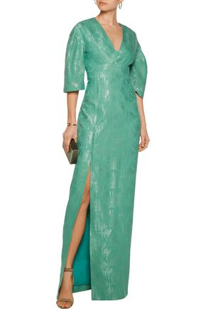 LELA ROSE Metallic cotton and silk-blend gown