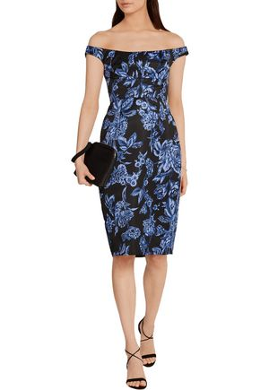 LELA ROSE Off-the-shoulder floral-print satin dress