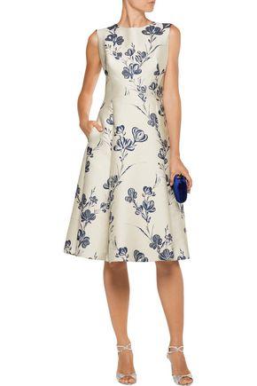 LELA ROSE Pleated metallic brocade dress