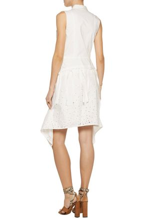 PROENZA SCHOULER Asymmetric broderie anglaise-paneled cotton-poplin mini dress