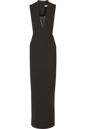 ELIZABETH AND JAMES Dori faux leather-trimmed stretch-twill gown ...