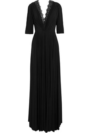 CATHERINE DEANE Halaya lace-trimmed pleated satin-jersey maxi dress